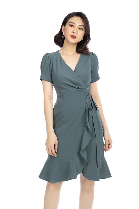 Đầm quấn wrap dress phối bèo