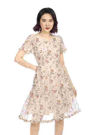 Đầm hoa dáng xòe diềm bèo