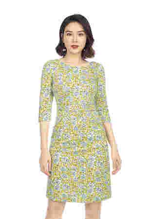Đầm ôm body họa tiết hoa tay lửng