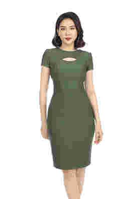 Đầm ôm body cổ tròn cut-out
