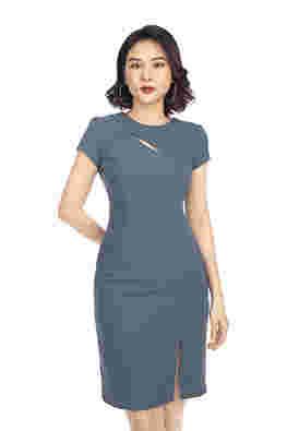 Đầm ôm body cổ tròn cut-out xẻ tà
