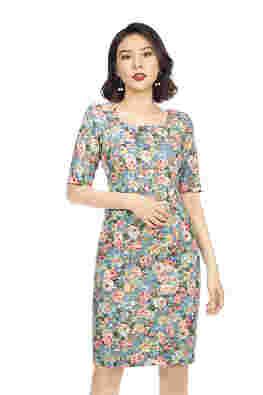 Đầm ôm body họa tiết hoa tay lỡ
