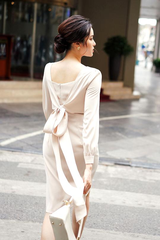 Đầm chữ A tay dài phối vạt áo giả