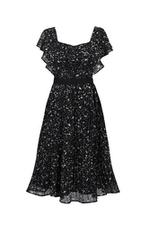 Đầm xòe xếp ly họa tiết tay viền bèo