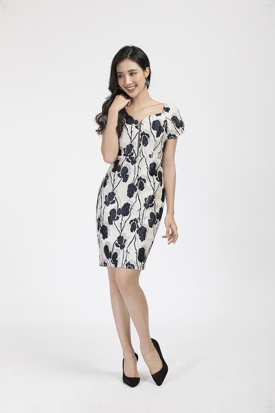 Đầm tafta form ôm họa tiết hoa KK85-10