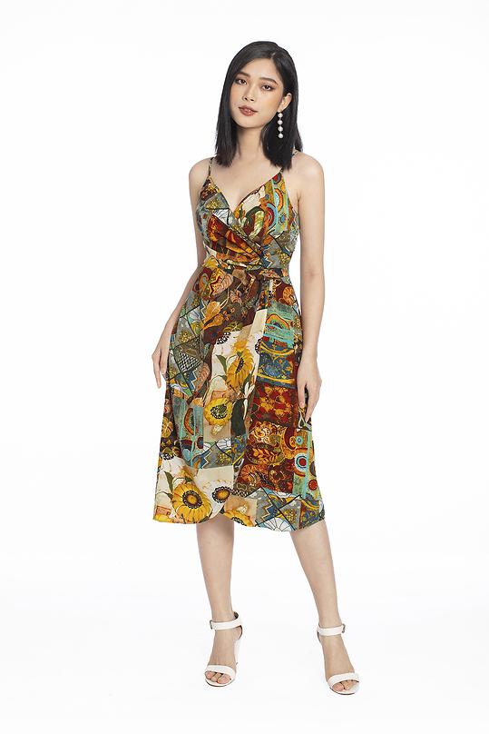 Đầm 2 dây họa tiết nhấn eo tùng váy đắp