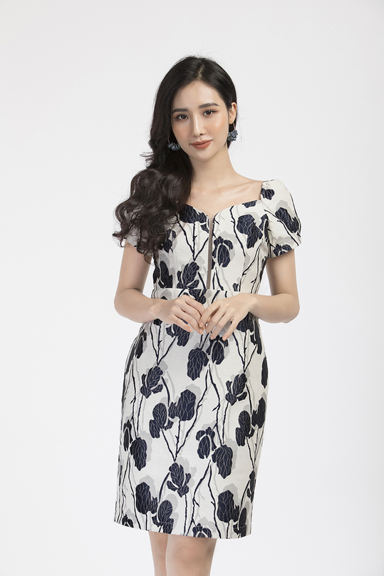 Đầm tafta form ôm họa tiết hoa