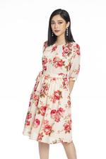 Đầm voan xòe họa tiết hoa eo thắt nơ
