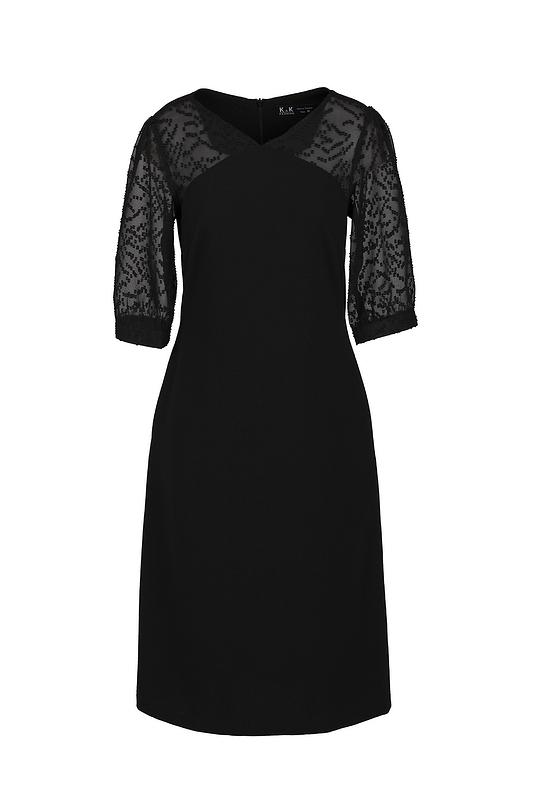 Đầm đen dáng suông tay phối voan cóc