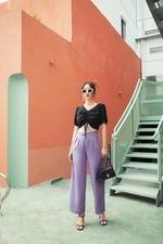 Quần tây ống suông màu tím lilac