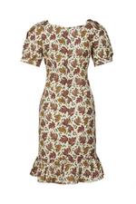 Đầm cổ vuông tay phồng họa tiết lá