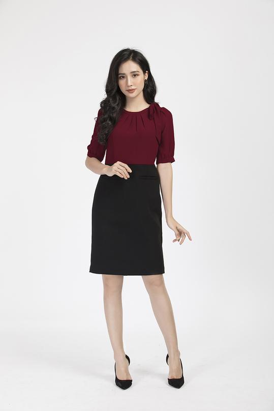 Đầm liền phối màu đỏ đen KK86-09
