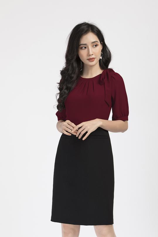 Đầm liền phối màu đỏ đen