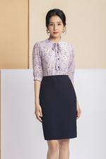Đầm hoa phối tùng váy xanh đen