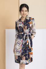 Đầm sơ mi họa tiết phối thắt lưng vải