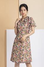 Đầm suông họa tiết hoa phối nơ