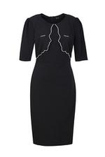 Đầm đen dáng chữ A tay lỡ cổ tròn viền trắng