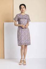 Đầm suông họa tiết viền bèo