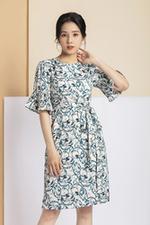 Đầm suông họa tiết tay loe phối nơ eo