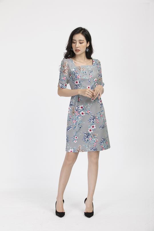 Đầm hoa tay lửng KK87-02