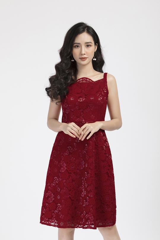 Đầm ren đỏ 2 dây
