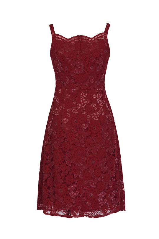 Đầm ren đỏ 2 dây KK87-11