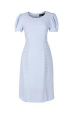 Đầm chữ A tay phồng tùng váy đính nút
