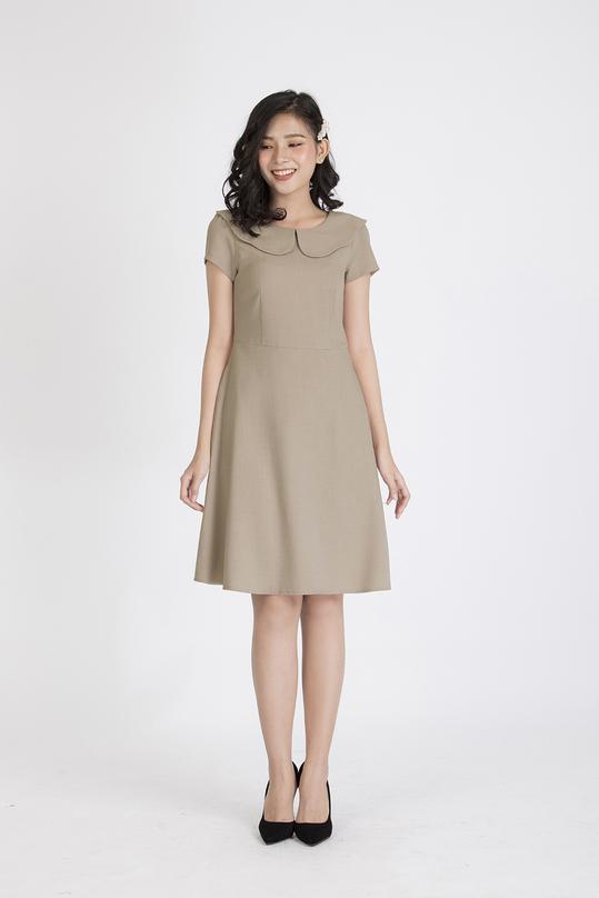 Đầm xòe cổ sen tay ngắn KK87-25
