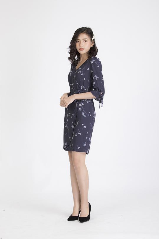 Đầm hoa tùng váy quấn thắt nơ KK88-03