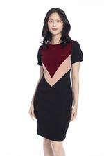 Đầm đen phối màu dáng chữ A