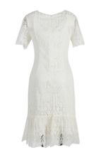 Đầm ren trắng đuôi cá đính hoa