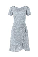 Đầm chữ A hoa tùng váy quấn viền bèo