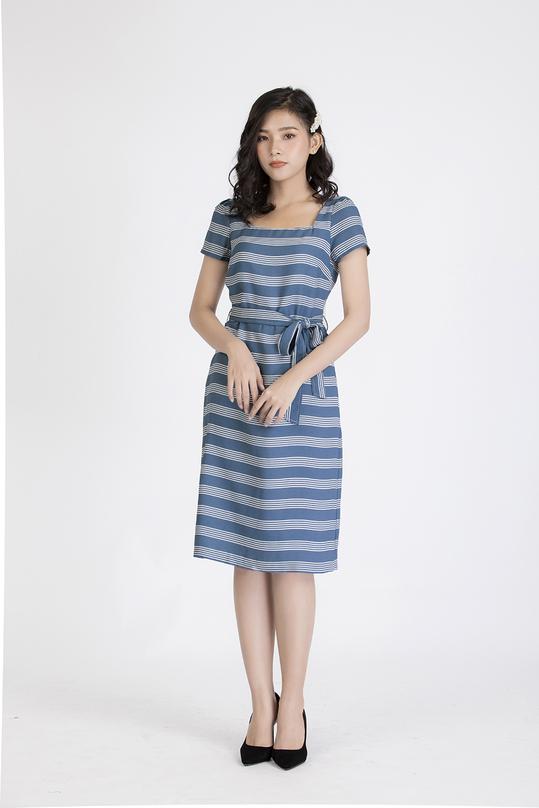 Đầm kẻ ngang cột nơ eo KK88-12