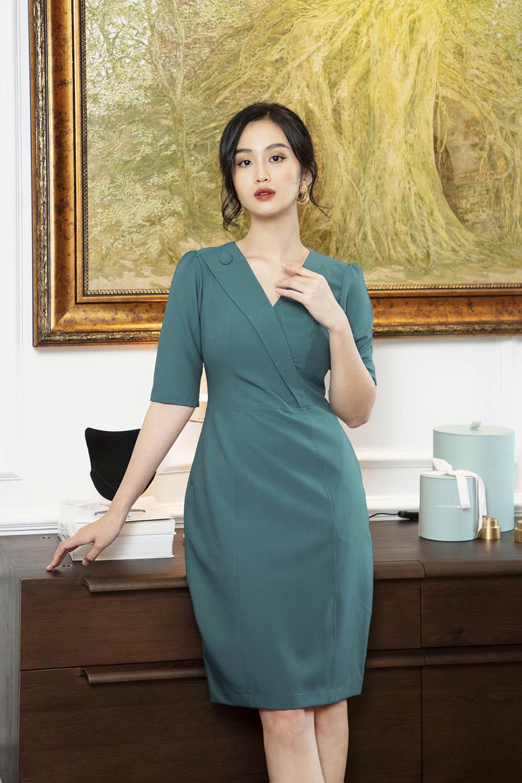 Đầm dáng ôm cổ đan tông tay lỡ KK101-34
