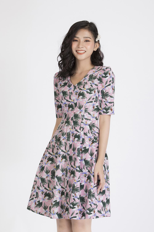 Đầm xòe họa tiết hoa KK88-20