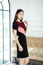 Đầm đen phối màu dáng ôm