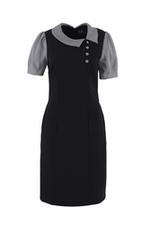 Đầm đen phối caro dáng chữ A cổ sen