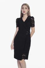 Đầm đen phối ren cổ đan tông