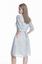Đầm xòe họa tiết tay lỡ viền bèo