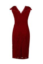 Đầm tiệc ren đỏ dáng ôm tay hến