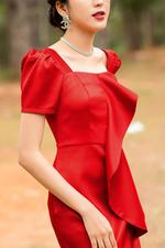 Đầm ôm body cổ vuông phối bèo