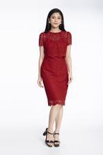 Đầm ren đỏ ôm body tay ngắn