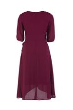 Đầm chữ A tùng váy đắp xéo phối nơ eo