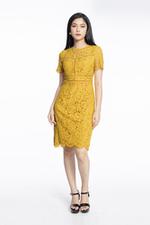 Đầm ren cotton dáng ôm body tay ngắn