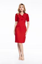 Đầm đỏ dáng chữ A cổ sen