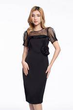 Đầm đen ôm body phối lưới đính nơ eo