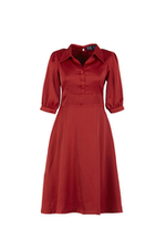 Đầm đỏ dáng xòe tay lỡ cổ sơ mi