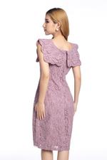 Đầm ren ôm tùng váy đắp chéo