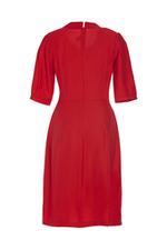 Đầm đỏ chữ A cổ sơ mi tay lỡ