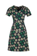Đầm hoa dáng chữ A cổ V tay ngắn